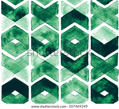 Watercolor chevron green colors on white background. Abstract seamless pattern for fabric. Lush Meadow