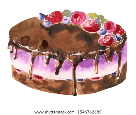 Watercolor chocolate cake with  berries on a white background