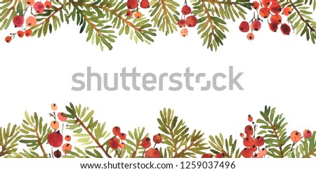 Watercolor Christmas arangement of spruce and holly berries