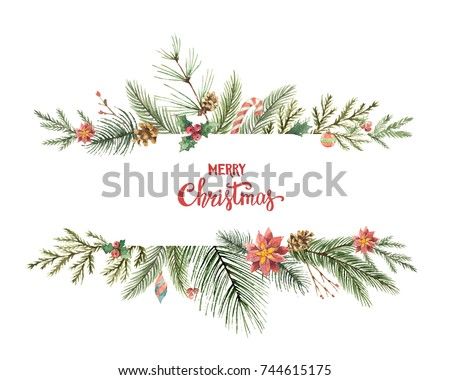 Watercolor Christmas banner with fir branches and place for text. Illustration for greeting cards and invitations isolated on white background.