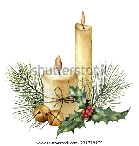 Watercolor Christmas candle with holiday decor. Hand painted candle, holly, christmas tree branch and bell isolated on white background. Christmas botanical clip art for design or print. Holiday card