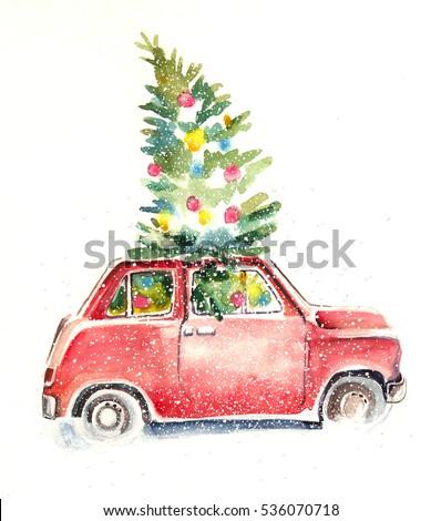 Watercolor christmas car illustration