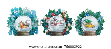 Stock Photo Watercolor Christmas illustrations with Snow Globes.