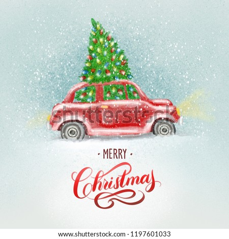 Watercolor Christmas red retro car, vintage beetle, art paint Christmas and New Year illustation or greeting card with hand lettering.