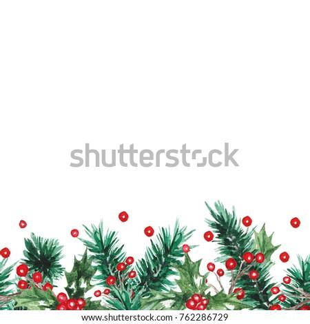 Watercolor Christmas seamless border #762286729