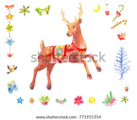 Watercolor Christmas set of deer and other winter decoration elements