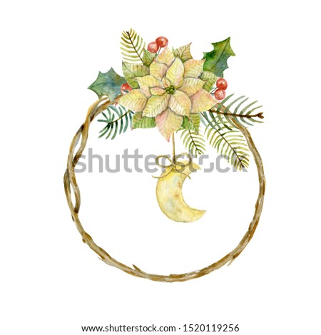Watercolor christmas twig frame with poinsettia,  fir and pine branches, holly leaves, holly berries and moon on the white background. Winter holidays. New Year card