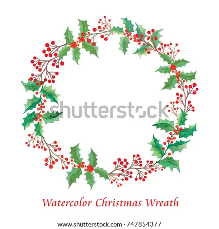 Watercolor Christmas wreath isolated on a white background - Shutterstock ID 747854377
