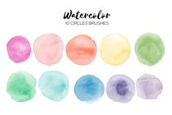 Watercolor circle texture. Abstract hand paint textures. Set of 10 watercolor circle elements for design.