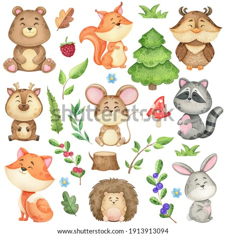 watercolor clip art with forest animals and natural elements, branches, leaves and trees. Illustration of a bear, fox, squirrels and other wild animals on a white background Photo stock ©