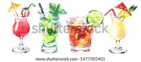 Watercolor cocktail illustration set. Painted isolated fresh beverages on white background. Menu design