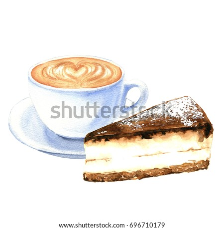 Watercolor coffee cup, hand drawn cappuccino with chocolate cheesecake illustrations, isolated on white background. Food design.