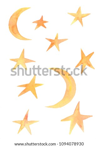 Watercolor collection of  stars and crescent.