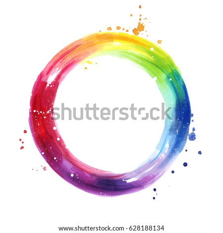 Watercolor color wheel, hand painted rainbow background, copy space