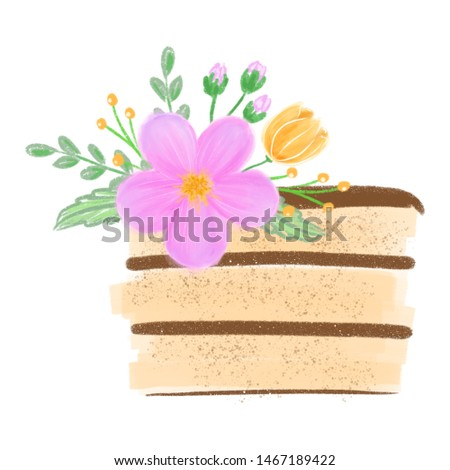 Watercolor colorful cake with floral flower isolated on white background