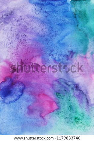 Watercolor colorful fantasy overlay. Aquarelle blue, violet, green, pink, purple stains texture on paper. Bright watercolour backdrop. Vintage abstract background. Wash drawing soft backdrop. Beauty.