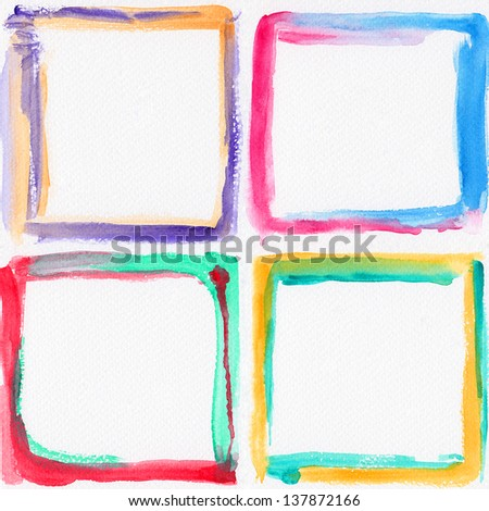 Watercolor colorful frames
