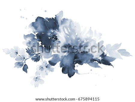 Watercolor composition in the cold scale. Bouquet of flowers.