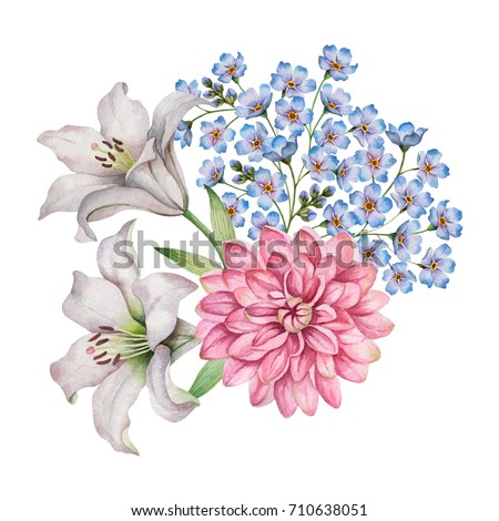 Watercolor composition of flowers. Hand painted floral elements isolated on a white background. Colorful bouquet with forget-me-nots, white lilies, dahlia and leaves.