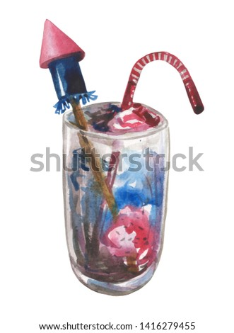 Watercolor composition of glass with a cocktail under the topping, a striped tube and a mock firework rocket. The element is hand-drawn for compositions on theme of Independence Day or the US flag day