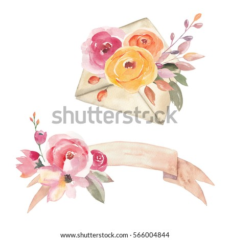 Watercolor composition set with floral elements