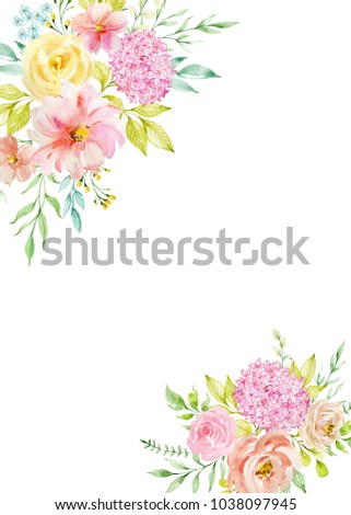 Watercolor composition with flowers in pastel colors. Frame, border ...