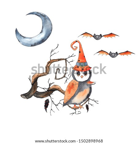 Watercolor compositions for children's Halloween party with pumpkins, hats,  owl, bat, spider, web