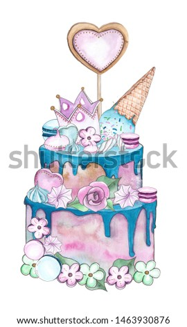 Watercolor compositions of cake, sweets and flowers for children's birthdays, parties and holidays