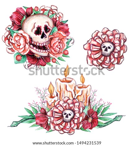 Watercolor compositions on Halloween theme.Great design with skulls, bones, pumpkin, ghosts, snakes, spiders, potion, candies, bats. Has elements of Day of the Dead - Día de los Muertos celebration