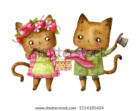 Watercolor couple of cats in love. Cat in cherry wreath. Cats with gift box. Valentine's Day illustration. Valentine's Day cute cats. Valentine's Day couple. Valentine's Day card in watercolor style.