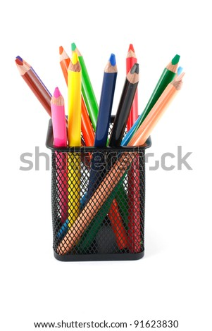 Watercolor crayons in a box isolated on white background