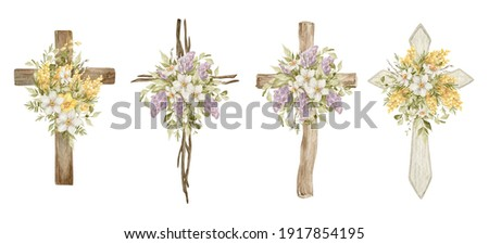 Watercolor crosses with flower bouquets. Easter catholic religious symbol. Orthodox cross for church and holidays. Latin symbol of the saint and spring floral arrangement ストックフォト ©
