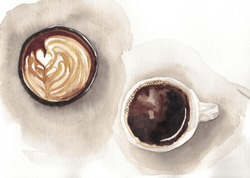 watercolor cup of coffee on the dark background
