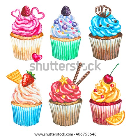 Watercolor cupcakes collection. Watercolor cupcakes set, different type of cupcakes. Hand drawn watercolor cupcake with decoration, cream and berries. Sweet tasty food illustration
