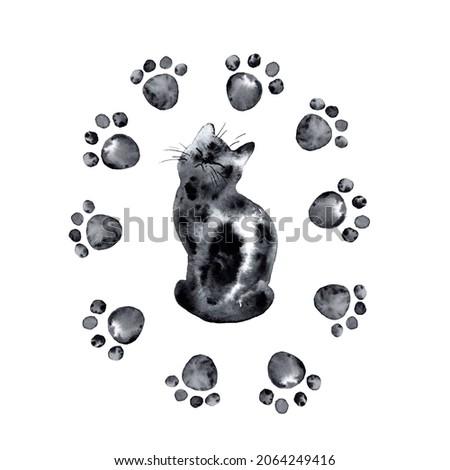 Watercolor Cute Black Cat Paw Prints Illustration Painting