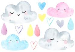 Watercolor cute clouds, drop, rain weather set. Sunny, sunshine, sky, sweet dreams. Watercolor prints, baby shower, greeting card, poster. Hand drawn illustration. Nursery decor. Scandinavian