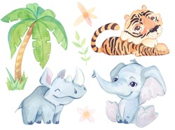 Watercolor cute illustration. Cartoon tropic character. Rhinoceros, elephant, tiger isolated on white background.