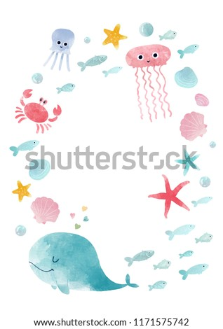 Inhabitants of Sea Whales Dolphins Octopus Jellyfish Starfish with Waves Casual Swim Trunks All
