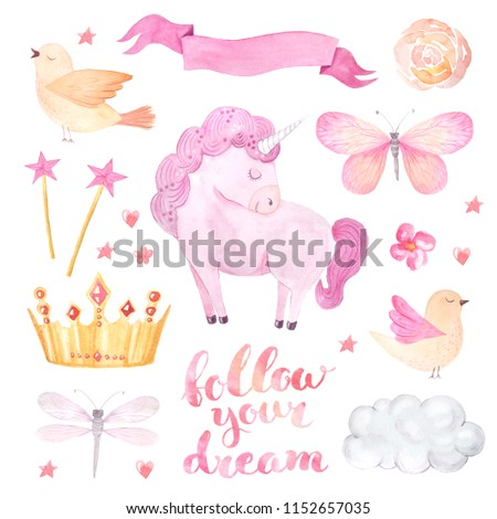 Watercolor cute set of unicorn, ribbon, butterfly inspired by baby fairytales. follow you dream lettering. Magic trendy pink cartoon collection perfect for nursery print and poster design