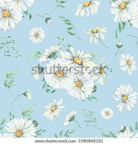 Watercolor daisy seamless pattern. Boho floral and leaves, naive style, Tender boho pattern for nursery, hone decor, wallpaper, apparel, kids fashion Stockfoto ©