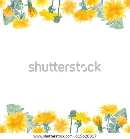 Watercolor dandelion flowers seamless border