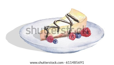 Watercolor dessert cheesecake on the plate