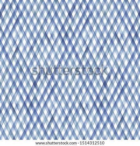 Watercolor diagonal stripe plaid seamless pattern. Blue stripes on white background. Watercolour hand drawn striped texture. Print for cloth design, textile, fabric, wallpaper, wrapping, tile.
