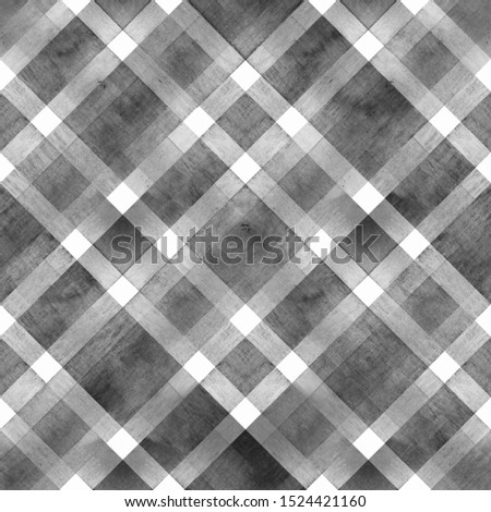 Watercolor diagonal stripe plaid seamless texture. Black gray stripes on white background. Watercolour hand drawn striped pattern. Print for cloth design, textile, fabric, wallpaper, wrapping, tile.