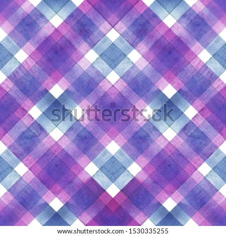 Watercolor diagonal stripe plaid seamless texture. Colorful blue and purple stripes background. Watercolour hand drawn striped pattern. Print for cloth design, textile, fabric, wallpaper, wrapping.