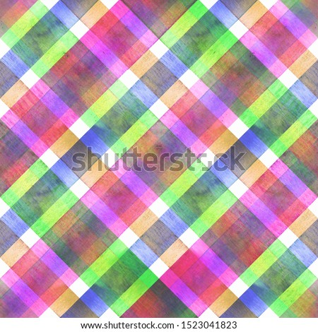 Watercolor diagonal stripe plaid seamless texture. Colorful green pink purple stripes background. Watercolour hand drawn striped pattern. Print for cloth design, textile, fabric, wallpaper, wrapping.