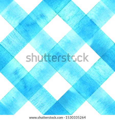 Watercolor diagonal stripe plaid seamless texture. Teal blue stripes on white background. Watercolour hand drawn striped pattern. Print for cloth design, textile, fabric, wallpaper, wrapping, tile.
