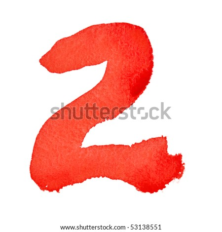 Watercolor digits isolated over the white background