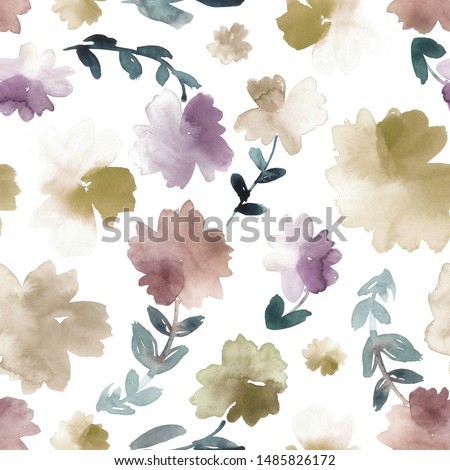 Watercolor ditsy floral pattern in golden brown, dusty red, purple and teal.