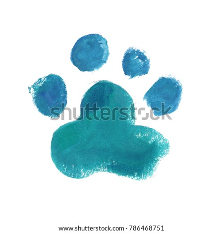 watercolor dog's paw illustration, cat`s paw